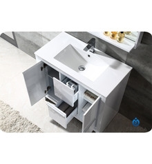 "Fresca FVN8136WH Allier Bathroom Vanity with Sink & Faucet & Mirror 35.38"" W - White"
