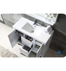 "Fresca FVN8140WH Allier Bathroom Vanity with Sink & Faucet & Mirror 39.38"" W - White"