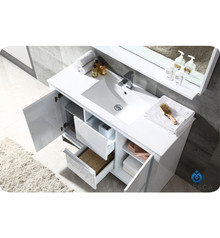 "Fresca FVN8148WH Allier Bathroom Vanity with Sink & Faucet & Mirror 47.25"" W - White"