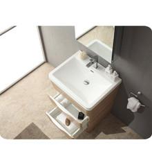 "Fresca FVN8525WK Milano Bathroom Vanity with Sink & Faucet & Medicine Cabinet 25.5"" W - White Oak"