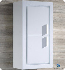 "Fresca FST8140WH Allier White Bathroom Linen Side Cabinet with 2 Doors  15.75"" x 32"""