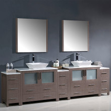 "Fresca FVN62-108GO-VSL Torino Double Sink Bathroom Vanity with 3 Side Cabinets & Vessel Sinks & Faucets 108"" W - Gray Oak"