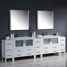 "Fresca FVN62-108WH-UNS Torino Double Sink Bathroom Vanity & 3 Side Cabinets & Integrated Sinks & Faucets 108"" W - White"