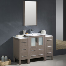 "Fresca FVN62-122412GO-UNS Torino Bathroom Vanity with 2 Side Cabinets & Integrated Sink & Faucet 48"" W - Gray Oak"