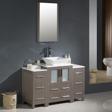 "Fresca FVN62-122412GO-VSL Torino Bathroom Vanity with 2 Side Cabinets & Vessel Sink & Faucet 48"" W - Gray Oak"