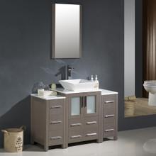 "Fresca FVN62-122412GO-VSL Torino Bathroom Vanity with 2 Side Cabinets & Vessel Sink & Faucet 48"" W - Gray Oak"