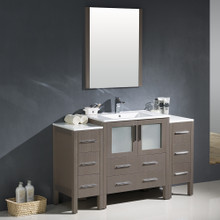 "Fresca FVN62-123012GO-UNS Torino Bathroom Vanity with 2 Side Cabinets & Integrated Sink & Faucet 54"" W - Gray Oak"