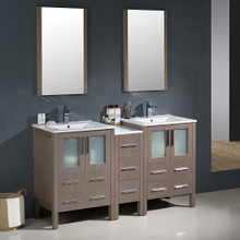 """Fresca FVN62-241224GO-UNS Torino Double Sink Bathroom Vanity with Side Cabinet & Integrated Sinks & Faucets 60"""" W - Gray Oak"""