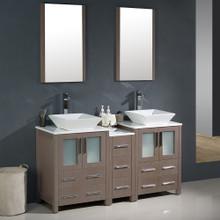 """Fresca FVN62-241224GO-VSL Torino Double Sink Bathroom Vanity with Side Cabinet & Vessel Sinks & Faucets 60"""" W - Gray Oak"""
