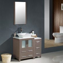 "Fresca FVN62-2412GO-VSL Torino Bathroom Vanity with Side Cabinet & Vessel Sink & Faucet 36"" W - Gray Oak"
