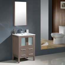 "Fresca FVN6224GO-UNS Torino Bathroom Vanity with Integrated Sink & Faucet 24"" W - Gray Oak"
