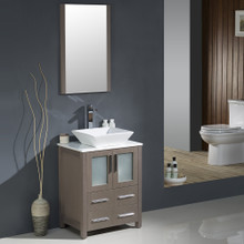 "Fresca FVN6224GO-VSL Torino Bathroom Vanity with Vessel Sink & Faucet 24"" W - Gray Oak"