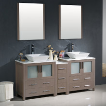 "Fresca FVN62-301230GO-VSL Torino Double Sink Bathroom Vanity with Side Cabinet & Vessel Sinks & Faucets 72"" W - Gray Oak"