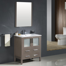 "Fresca FVN6230GO-UNS Torino Bathroom Vanity with Integrated Sink & Faucet 30"" W - Gray Oak"
