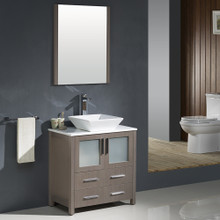 "Fresca FVN6230GO-VSL Torino Bathroom Vanity with Vessel Sink & Faucet 30"" W - Gray Oak"