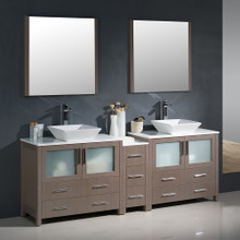 "Fresca FVN62-361236GO-VSL Torino Double Sink Bathroom Vanity with Side Cabinet & Vessel Sinks & Faucets 83.5"" W - Gray Oak"