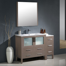 "Fresca FVN62-3612GO-UNS Torino Bathroom Vanity with Sink & Faucet & Side Cabinet & Integrated Sink 47.5"" W - Gray Oak"