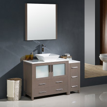"Fresca FVN62-3612GO-VSL Torino Bathroom Vanity with Side Cabinet & Vessel Sink & Faucet 47.5"" W - Gray Oak"