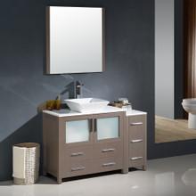 """Fresca FVN62-3612GO-VSL Torino Bathroom Vanity with Side Cabinet & Vessel Sink & Faucet 47.5"""" W - Gray Oak"""