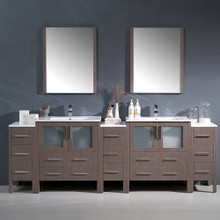 "Fresca FVN62-96GO-UNS Torino Double Sink Bathroom Vanity & 3 Side Cabinets & Integrated Sinks & Faucets 96"" W - Gray Oak"