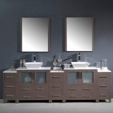 "Fresca FVN62-96GO-VSL Torino Double Sink Bathroom Vanity with 3 Side Cabinets & Vessel Sinks & Faucets 96"" W - Gray Oak"