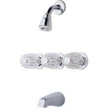 Price Pfister G01-1120 Three Handle Tub and Shower Faucet & Rough-In - Chrome