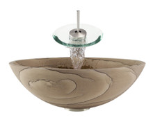 "Aurora S03 Brown Sandstone Vessel Sink with Brushed Nickel Faucet & Pop Up Drain - 16.5"" x 16.5"""