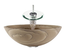 "Aurora S03 Brown Sandstone Vessel Sink with Chrome Faucet & Pop Up Drain - 16.5"" x 16.5"""