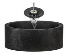 "Aurora S13 Black Honed Basalt Granite Vessel Sink with Brushed Nickel Faucet & Pop Up Drain - 17"" x 17"""