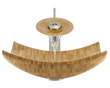 "Aurora B03 Natural Bamboo Vessel Sink with Brushed Nickel Faucet & Pop Up Drain - 16.13"" x 16.13"""