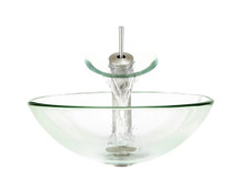 "Aurora G01 Clear Sky Glass Vessel Sink with Brushed Nickel Faucet & Pop Up Drain - 16.5"" x 16.5"""