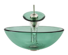 "Aurora G01 Emerald Forest Glass Vessel Sink with Brushed Nickel Faucet & Pop Up Drain - 16.5"" x 16.5"""