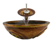 "Aurora A06 Brown Painted Glass Vessel Sink with Chrome Faucet & Pop Up Drain - 16.5"" x 16.5"""