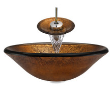 "Aurora A07 Bronze Foil Undertone Glass Vessel Sink with Chrome Faucet & Pop Up Drain - 17.75"" x 17.75"""