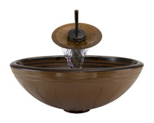 "Aurora A10 Brown Hand Painted Glass Vessel Sink with Oil Rubbed Bronze Faucet & Pop Up Drain - 16.5"" x 16.5"""