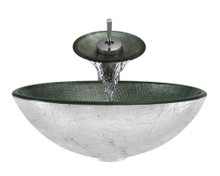 "Aurora A11 Silver Glass Vessel Sink with Chrome Faucet & Pop Up Drain - 16.5"" x 16.5"""
