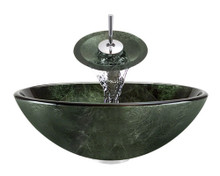 "Aurora A21 Green Glass Vessel Sink with Chrome Faucet & Pop Up Drain - 16.5"" x 16.5"""