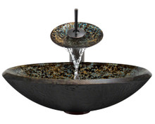 """Aurora A25 Brown Blue Green Hand Painted Glass Vessel Sink with Oil Rubbed Bronze Faucet & Pop Up Drain - 18"""" x 18"""""""