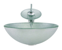 "Aurora A27 Frosted Foil Undertone Glass Vessel Sink with Chrome Faucet & Pop Up Drain - 16.5"" x 16.5"""