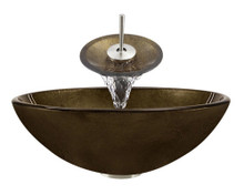 "Aurora A28 Bronze Foil Undertone Glass Vessel Sink with Brushed Nickel Faucet & Pop Up Drain - 16.5"" x 16.5"""
