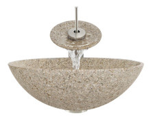 "Aurora S01 Tan Sand Granite Vessel Sink with Brushed Nickel Faucet & Grid Drain - 16.5"" x 16.5"""