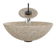 "Aurora S01 Tan Sand Granite Vessel Sink with Oil Rubbed Bronze Faucet & Grid Drain - 16.5"" x 16.5"""