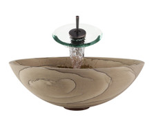 "Aurora S03 Brown Sandstone Vessel Sink with Oil Rubbed Bronze Faucet & Grid Drain - 16.5"" x 16.5"""
