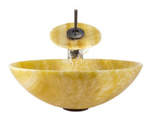 "Aurora S04 Yellow Honey Onyx Vessel Sink with Oil Rubbed Bronze Faucet & Grid Drain - 16.5"" x 16.5"""