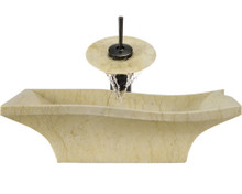 "Aurora S10 Yellow Marble Vessel Sink with Oil Rubbed Bronze Faucet & Grid Drain - 19.75"" x 15"""