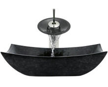 "Aurora S11 Black Honed Basalt Granite Vessel Sink with Chrome Faucet & Grid Drain - 18.5"" x 14.75"""