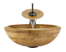 "Aurora B01 Natural Bamboo Vessel Sink with Oil Rubbed Bronze Faucet & Grid Drain - 16.5"" x 16.5"""
