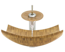 "Aurora B03 Natural Bamboo Vessel Sink with Chrome Faucet & Grid Drain - 16.13"" x 16.13"""