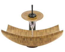 "Aurora B03 Natural Bamboo Vessel Sink with Oil Rubbed Bronze Faucet & Grid Drain - 16.13"" x 16.13"""