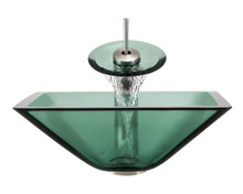 """Aurora G03 Black Moraine Glass Vessel Sink with Brushed Nickel Faucet & Grid Drain - 16.5"""" x 16.5"""""""